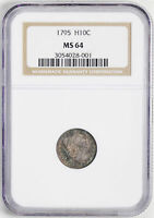 1795 FLOWING HAIR H10C NGC MINT STATE 64