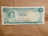 1968 BAHAMAS $1 ONE DOLLAR NOTE BILL CARIBBEAN TROPICAL FISH REEF CORAL P 27A