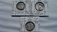 LOT OF  3  OCEAN RECOVERED SHIPWRECK SILVER COINS