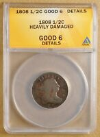 1808 DRAPED BUST HALF CENT ANACS GOOD 6 DETAILS