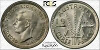 1943 D AUSTRALIA THREE PENCE PCGS MS65 VERY RARE IN THIS HIG