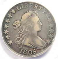 1806 DRAPED BUST HALF DOLLAR 50C - ANACS VF20 DETAILS -  CERTIFIED COIN