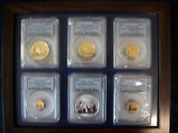 2011 CHINA COMPLETE 5 GOLD PANDA 1 SILVER 6 COINS SET PCGS M
