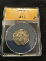 1928 STANDING LIBERTY QUARTER ANACS EXTRA FINE -40 - EXTRA FINE - CERTIFIED SLAB - 25C