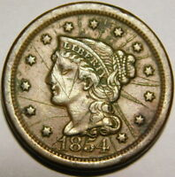 1854 BRAIDED HAIR LARGE CENT SOME SCRATCHES  A30-443