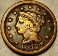 1847 BRAIDED HAIR LARGE CENT FINE DETAILS