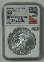 2012 W $1 BURNISHED AMERICAN SILVER EAGLE  NGC MS70  MIKE CASTLE SIGNATURE LABEL