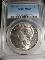 1923 D PCGS MINT STATE 63 VAM 1H WITH RIM CUD PEACE DOLLAR  VARY