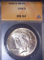 1926 PEACE SILVER DOLLAR ANACS MINT STATE 64. SOME TONING ON REVERSE,