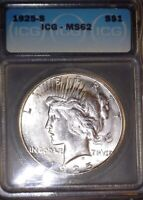 1925-S PEACE SILVER DOLLAR ICG  MINT STATE 62, SWIRLING MINT LUSTER