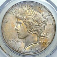 1926 SILVER PEACE DOLLAR PCGS MINT STATE 63 BU UNC COLOR TONED WITH LUSTER MUST HAVE GEM