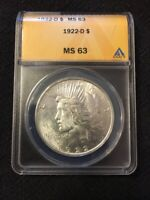 1922 D PEACE DOLLAR ANACS MINT STATE 63 - UNCIRCULATED - BETTER DATE - CERTIFIED SLAB -$