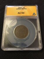 1864 TWO CENT PIECE ANACS AU-50 - ABOUT UNCIRCULATED - TYPE - CERTIFIED SLAB -2C