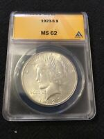 1923 S PEACE DOLLAR ANACS MINT STATE 62 - UNCIRCULATED - BETTER DATE - CERTIFIED SLAB -$