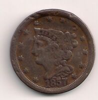 1857 BRAIDED HAIR HALF CENT - LAST DATE FOR THIS DENOMINATION