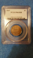 1869 2 CENT COIN PROOF 63 RED BROWN  PCGS 13330049