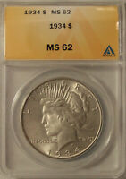 1934-P PEACE SILVER DOLLAR GRADED MINT STATE 62 BY ANACS