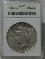 1927-S PEACE SILVER DOLLAR GRADED AU 53 BY ANACS