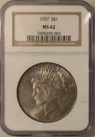 1927-P PEACE SILVER DOLLAR GRADED MINT STATE 62 BY NGC