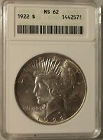 1922-P PEACE SILVER DOLLAR GRADED MINT STATE 62 BY ANACS
