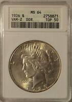 1926-P PEACE SILVER DOLLAR GRADED MINT STATE 64 VAM-2 DDR TOP 50 BY ANACS