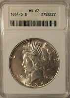 1934-D PEACE SILVER DOLLAR GRADED MINT STATE 62 BY ANACS