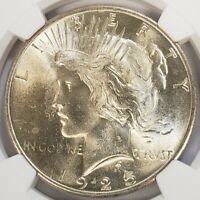 1925 SILVER PEACE DOLLAR NGC MINT STATE 64 BU BEAUTIFUL OLD COIN WITH GREAT DETAIL 34FS