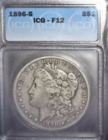 1896-S MORGAN SILVER DOLLAR, ICG -F12,  TOUGH DATE, FAST TRACKED SHIPPING