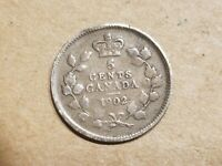 1902 CANADA 5 CENTS SILVER COIN CANADIAN FIVE CENT FISHSCALE NICE