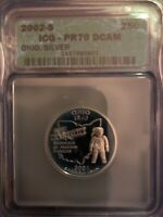 2002 S OHIO STATE SILVER WASHINGTON QUARTER ICG PR70 DCAM