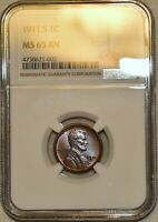 NGC MS 65 BN 1911 S LINCOLN CENT  BEAUTIFULLY TONED FLAWLESS