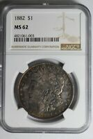 1882 MORGAN SILVER DOLLAR PURPLE BLUE TONED MINT STATE 62 NGC 61-003