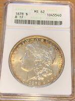 1878 8 TF MORGAN SILVER DOLLAR VAM 14.1 ALLIGATOR EYE RATED MINT STATE 62 BY ANACS