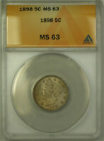 1898 LIBERTY V NICKEL 5C COIN ANACS MINT STATE 63