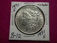 1891 S MORGAN SILVER DOLLAR,LOT B-12
