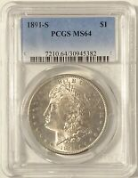 1891-S MORGAN SILVER DOLLAR PCGS MINT STATE 64 SUPERB EYE APPEAL LIGHT TONING