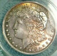1887 P MORGAN SILVER DOLLAR ANACS MINT STATE 62 VAM 11  COLOR TONING, TEXTILE OBV.