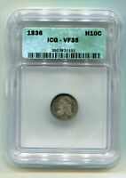 1836 CAPPED BUST HALF DIME LARGE 5 LM-7 RARITY 4 ICG VF35  ORIGINAL COIN