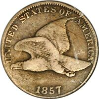 1857 CLASH 50C EAGLE 1C FS-003 FLYING EAGLE CENT NCS F DET.CLEANED 7-003