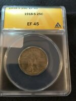 1918 S STANDING LIBERTY QUARTER ANACS EXTRA FINE -45 - BETTER DATE - CERTIFIED SLAB - 25C