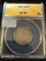 1927 S STANDING LIBERTY QUARTER ANACS VF-20 - KEY DATE - CERTIFIED SLAB - 25C