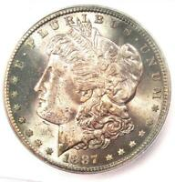 1887-S MORGAN SILVER DOLLAR $1 COIN - CERTIFIED ICG MINT STATE 63 BU UNC -  IN MINT STATE 63