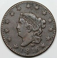 1816 CORONET HEAD LARGE CENT VF DETAIL