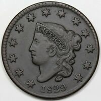 1829 CORONET HEAD LARGE CENT LARGE LETTERS VF XF