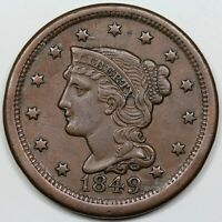1849 BRAIDED HAIR LARGE CENT XF