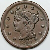 1857 BRAIDED HAIR LARGE CENT LARGE DATE VF