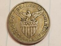 1919 S PHILIPPINES 50 CENTAVOS SILVER COIN AMERICAN ADMINISTRATION ABOUT UNC AU