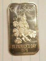 1975 ST. PATRICK'S DAY ERIN GO BRAGH MADISON MINT 1 OUNCE SILVER BAR ART BAR