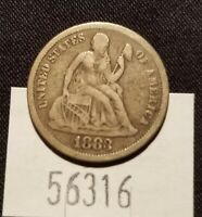WEST POINT COINS  1883 SEATED LIBERTY DIME FULL LIBERTY