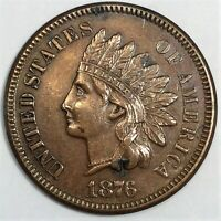1876 INDIAN HEAD PENNY BEAUTIFUL HIGH GRADE COIN RARE DATE F